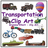 Transportation Clip Art Train Boat Canoe Helicopter Bus Sub Truck Semi-Realistic