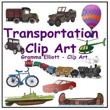 Transportation Clip Art Train Boat Canoe Helicopter Bus Sub Truck Semi-Realistic