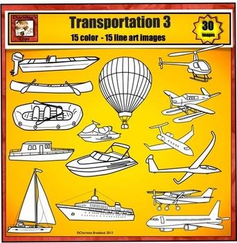 Transportation Clip Art 3 - boat plane water and air transportation