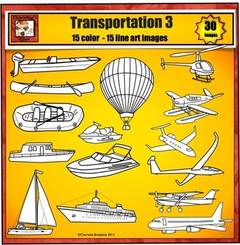 Transportation Clip Art 3 - boat plane water and air transportation