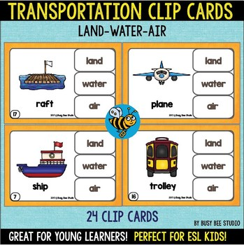 Transportation Clip Cards (Land-Water-Air) for Young Learners and ESL Kids