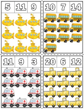 Transportation Clip Cards | Numbers 1-20
