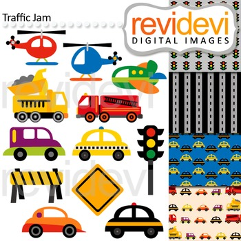 Transportation Clip art and digital paper