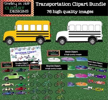 Transportation Clipart Bundle- Color and Black line