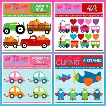 Transportation Clipart Plus Digital Papers BUNDLE