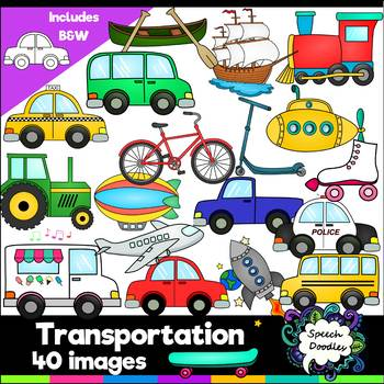 Transportation Clipart bundle - 40 images! For Personal and Commercial Use