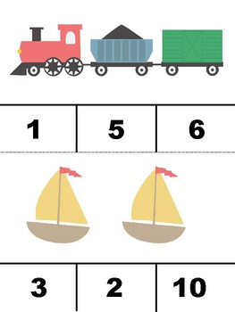 Transportation Clothespin Counting