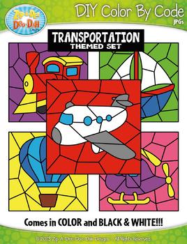 Transportation Color By Code Clipart {Zip-A-Dee-Doo-Dah Designs}