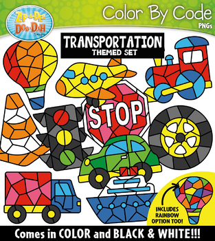Transportation Color By Code Shapes Clipart {Zip-A-Dee-Doo-Dah Designs}
