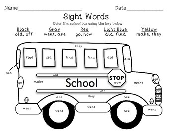 Transportation Color By Sight Word School Bus FREEBIE!