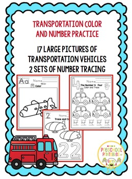 Transportation Color and Number Practice - No Prep
