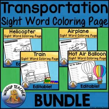 Transportation Color the Word Activity Sheet Mini Bundle *Editable*