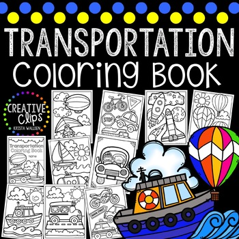 Transportation Coloring Book {Made by Creative Clips Clipart}