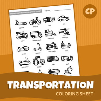 Transportation Coloring Sheet | Printable PDF
