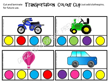 Transportation Colour Clip Cards