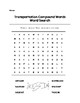 Transportation Compound Words Word Search Color/B&W with Key