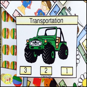 Transportation Count and Clip Task Cards