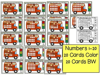 Transportation- Count & Pin Math Center (1-10 & 10's and 1's) Color+Black/White
