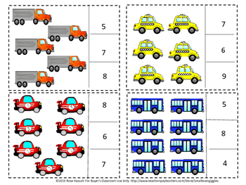 Transportation Counting to 20, Count and Clip, Kindergarten Math, Special Educat
