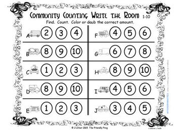 Transportation Counting, Addition & Subtraction: Write the Room