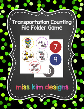 Transportation Counting File Folder Game for Early Childho