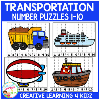 Transportation Counting Puzzles Numbers 1-10