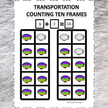 Transportation Counting Ten Frames Worksheets