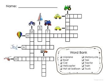 Adapted Crossword Puzzles - Transportation for Special Education and Autism
