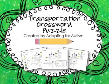 Adapted Crossword Puzzles - Transportation (Special Education)