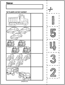 Transportation Cut & Match Worksheets | Numbers 1-5 by preKautism