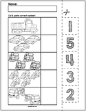 Transportation Cut & Match Worksheets   Numbers 1-5