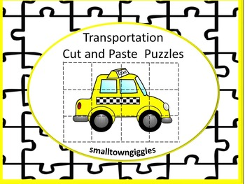 Transportation Cut and Paste Puzzles Fine Motor Skills, Math Centers