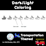 Transportation Dark Light Coloring Pages for Grasp and Pencil Control