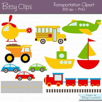 Transportation Digital Art Set Clipart Including Black and White Line Art