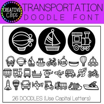 Transportation Doodle FONT {Creative Clips Clipart}