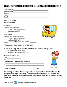 Transportation Emergency Information worksheet for Parents
