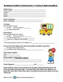 Transportation Emergency Information worksheet for Parents