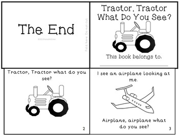 """Transportation Emergent Reader """"Tractor, Tractor What Do You See?"""" Mini-Book"""