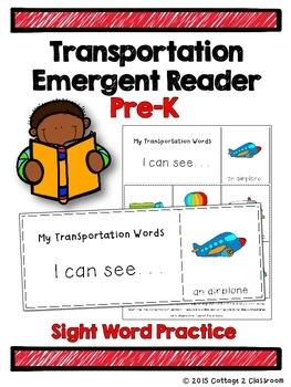 Transportation Emergent Reader for PreKinders