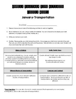 Transportation Family Together Time Activities Choice Board