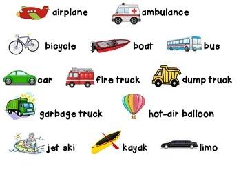 Transportation File Folder Word Wall