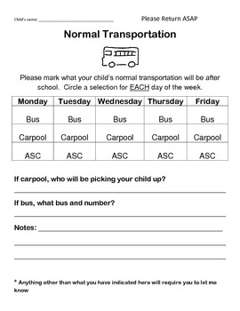 Transportation Form