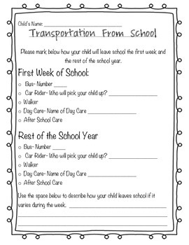 Transportation Form