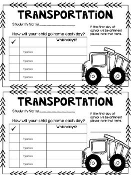 Transportation Form {Editable}