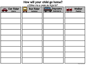 Transportation Form (English and Spanish) Freebie