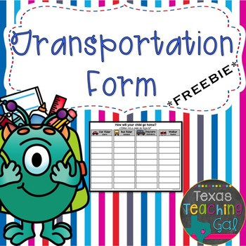 Transportation Form (English and Spanish) Freebie