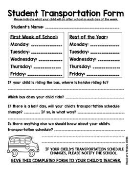 Transportation Form - Open House, Meet the Teacher, First Day, First Week