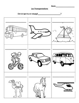 Transportation French Vocabulary Printing Page