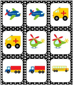 Transportation Bingo Memory Match Domino Game Set