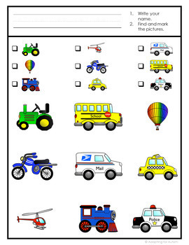 Transportation Find It Adapted Game: 3 levels of difficulty